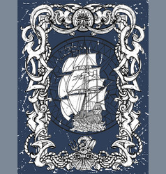 old baroque frame with sailing frigate vector image