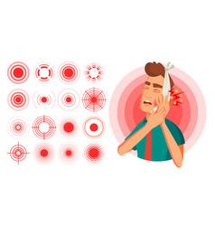 Pain symbol set round medical design vector