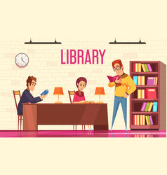 people reading books background vector image