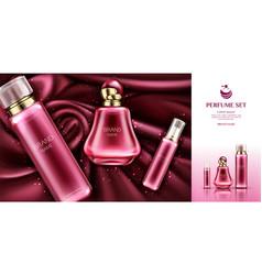 perfume deodorant sampler bottles on velvet fabric vector image