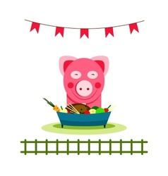 Pig eating food feast vector