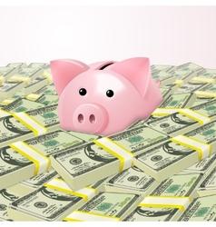 Piggybank in heap of money vector