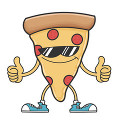 Pizza slice cartoon with sunglasses giving thumbs vector