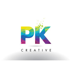 Pk p k colorful letter origami triangles design vector