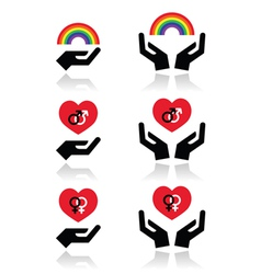 Rainbow gay and lesbian symbols in heart with vector