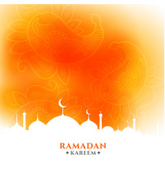 Ramadan kareem orange greeting with mosque design vector