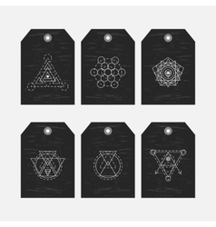 Sacred geometry tags set vector