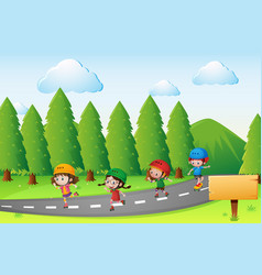 Scene with kids skating on the road vector