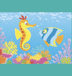 Seahorse and butterflyfish among corals vector