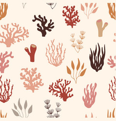 seamless marine pattern underwater plants vector image