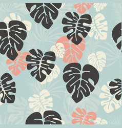 Seamless pattern with monstera palm leaves vector