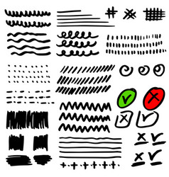 set hand drawn grunge strokes check marks vector image