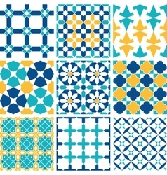 Set of Arabic seamless pattern vector image