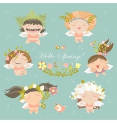 Set of cute spring angels vector image