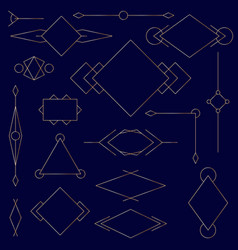 set of golden linear graphic stylized frames vector image