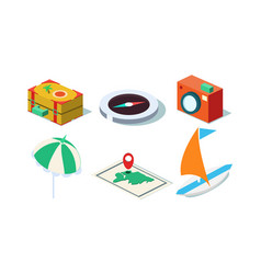 set of isometric travel objects yacht vector image