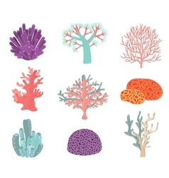 Set of underwater color coral icons vector image
