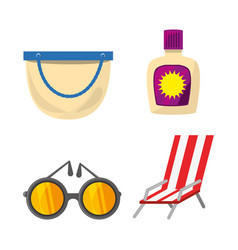 Set summer icon over white background vector