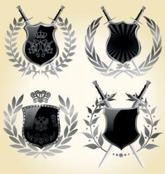 shields laurel wreaths vector image