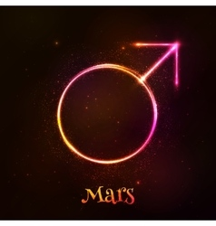 Shining neon light Mars astrological symbol vector image