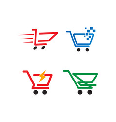 shopping cart logo design template vector image