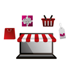 shopping online laptop basket gift bag and tag vector image