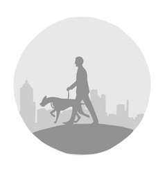 silhouette man and his dog with cityscape vector image