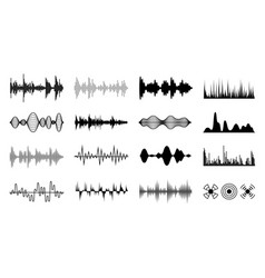Sound waves set black digital radio musical wave vector