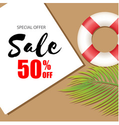 special offer sale 50 off lifebuoy background vec vector image