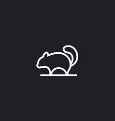 Squirrel on tree branch style line logo design vector