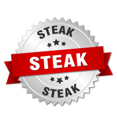 Steak 3d silver badge with red ribbon vector