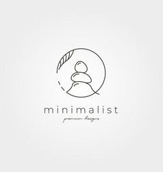 Stone line art logo symbol minimalist design vector