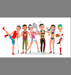 summer sports set of players in boxing vector image