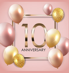 Template 10 years anniversary background with vector