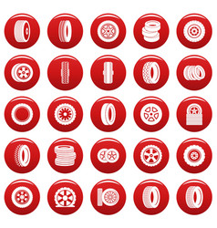 tire icons set vetor red vector image