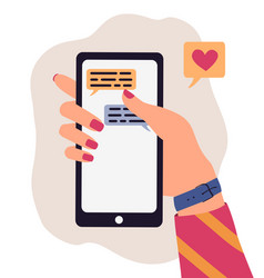 trendy cartoon human hand using smartphone vector image