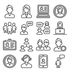 users and people icons set on white background vector image