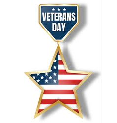 veterans day icon logo realistic style vector image