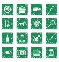 Veterinary icons set grunge vector