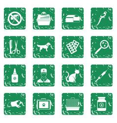 veterinary icons set grunge vector image