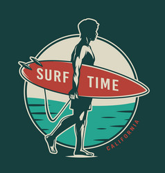 vintage colorful surfing time label vector image