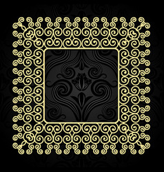 vintage gold frame with swirls on a dark vector image