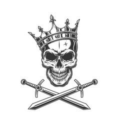 Vintage prince skull in crown vector