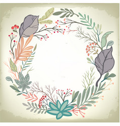 vintage romantic background with floral frame vector image