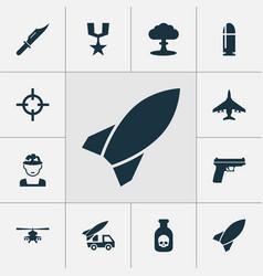 Warfare icons set collection of slug aircraft vector