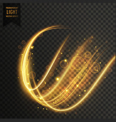 Wavy golden transparent light effect background vector