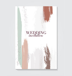 Wedding template in green brown nude colors with vector