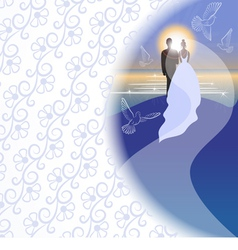 White background with bridegroom bride pigeons vector
