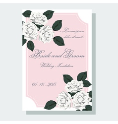 White roses wedding invitation vector
