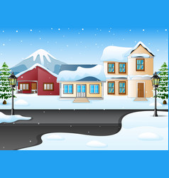 Winter mountains landscape with house and snowy st vector